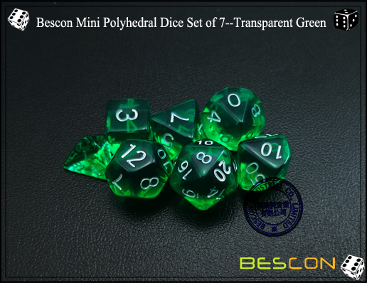 Bescon Mini Polyhedral Dice Set of 7--Transparent Green-4
