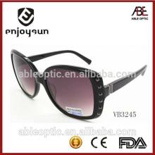 Дамы большой размер ацетат рамки моды солнцезащитные очки с красивой металлической раме