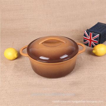 Round enamel cast iron mussel pot