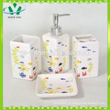 Conjunto de banho de cerâmica 4pcs, acessórios de banheiro para crianças