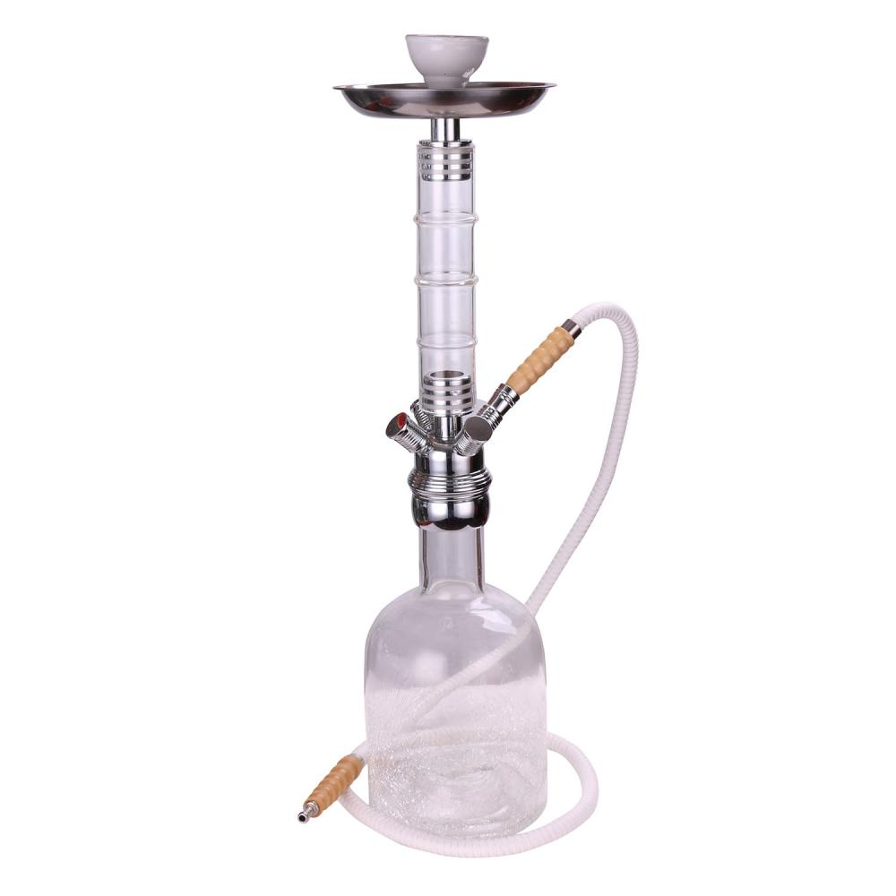 Bamboo Pole Shaped Glass Stemmed Shisha Hookah With Crackle Vase