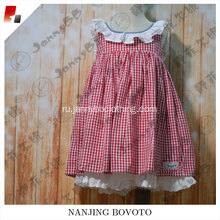 wholesale boutique summer red gingham lace dress