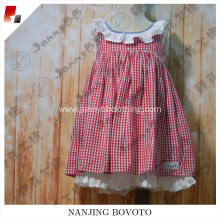 baby girl cotton red check ruffle dresses