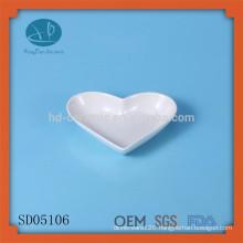 White ceramic heart shape dish wedding plates,ceramic dish,heart dish,small 'bread' plate,ice cream dish,heart dish