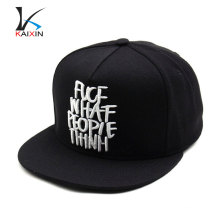 new custom fashion acrylic snapback cap/hat with 3d embroidery logo wholesale/snapback cap and hat with plastic enclosure