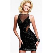 OEM 2015 Latest Bakless Black Lady Dress V-Neck Sexy Women Evening Dress