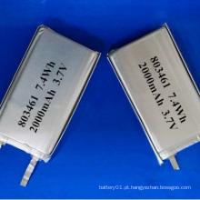 Bateria Li-Polymer de 3.7V 2000mAh Bateria de iões de lítio Bateria de íon de lítio
