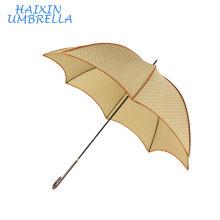 Продвижение бежевый Цвет мода дизайн листьев лотоса формы оптом 8 ребра трубопроводов прямой зонтик женщин напечатано Белый горох Китай