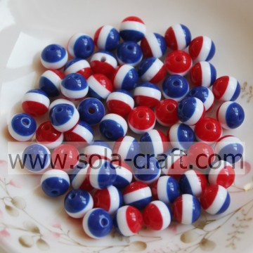 Wholesale Resin Round Red Blue White Loose Beads