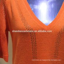 diseño de suéter de lana para niña Señoras 2 / 26s 100% lana media manga, suéter con cuello en v suéter, 12Gauge, Stock