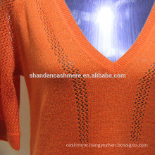 wool sweater design for girl Ladies 2/26s 100% wool half sleeve , v-neck pullover sweater, 12Gauge, Stock