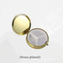 Caja de almacenaje plateada latón del metal para el cosmético o la joyería (BOX-31)
