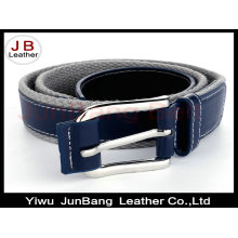 Leather Covered Buckle Braided Cotton Belt