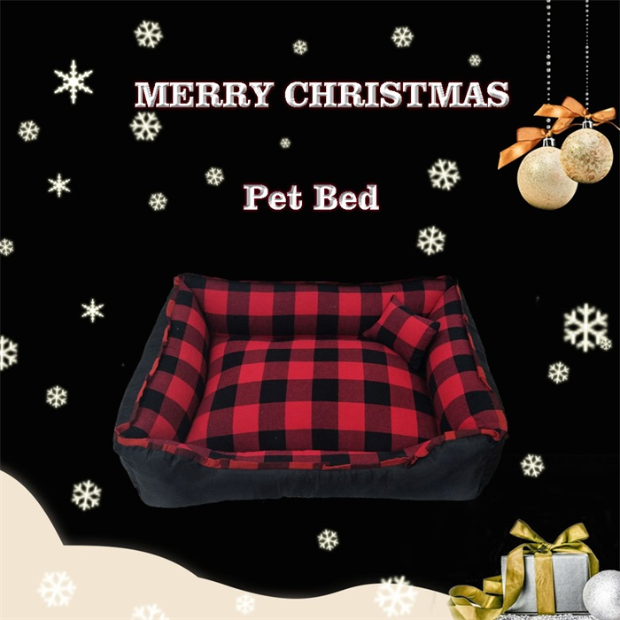 Christmas Scottish style plaid cloth pet bed