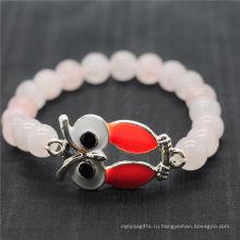 Розовый кварц 8MM круглый бусины стрейч Gemstone браслет со сплавом Сова Piece