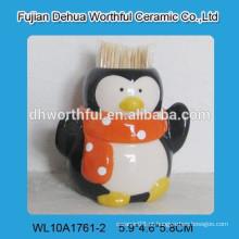 Cerâmica cozinha novidade palito titular com pingüim figurine