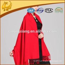Design personalizado Tecnologia escovada Red Color 100% Lenços de seda Pashmina Silk
