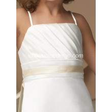 Sheath Column Spaghetti Straps Tea-length Satin Organza Gaun Bunga Gadis