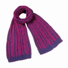 Écharpe lourde de tricot de câble mélangé de couleur chaude d'hiver unisexe des femmes (SK162)