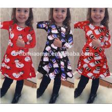 Großhandelsfamilien-zusammenpassende Kleidung für Mädchen-Kinderabnutzung druckte langes Hülsen-Weihnachtsblumen-Mädchen-Kleid