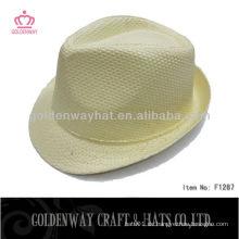 Günstige Großhandel Gelbe Fedora Hut