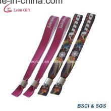 Logotipo impresso promocional tecido pulseira com clipe de Metal