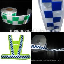 Vêtements de sécurité PVC bande réfléchissante damier ruban 3 rangs