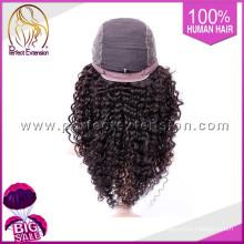 Virgin Machine Made Jewish Human Mongolian Hair Kinky Curly Lace Wig