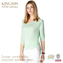 JS-16008 V Neck Slim Pattern Fancy Cashmere Women Sweater Design