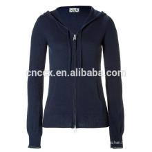 15STC6808 kangaroo pocket sweater cashmere hoodie for women