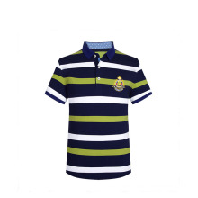 Sommer 2016 Streifen 3D Stickerei Rippe Kragen Side Vent Benutzerdefinierte Polo T-shirt Männer