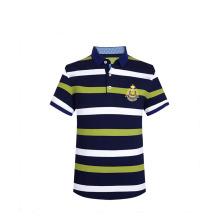 Verano 2016 Stripes 3D Bordado Rib Collar Side Vent Custom Polo Camiseta Hombres