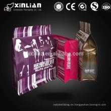 Bolso de embalaje cuadrado inferior de alimentos / bolsa lateral de ocho lados sellado plano para tuercas