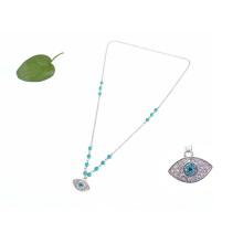 Collar malvado del ojo de la manera, collar azul turco hecho a mano de la piedra preciosa azul del mal de ojo