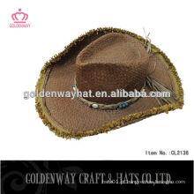 Casaco de palha de cowboy de crochet