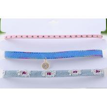 Três linhas de Multi cor tecido adoram colar gargantilha