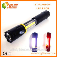 Hot selling Magnétique étendant 3W 250LM COB LED FLASHLIGHT 4XAAA Type de batterie Torche