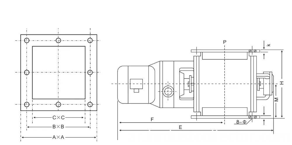 Square Or Round Flanged Impeller Rotary Valve