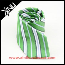 Men Green Stripes Perfect Neck Knot for Wedding Silk Jacquard Woven Tie