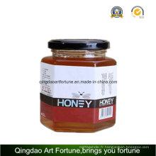 Jarre en verre hexagonal pour aliments et miel avec bouchon en métal