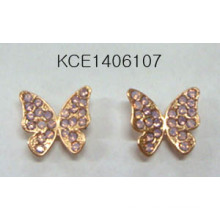 Metal Butterfly with Diamond Earrings