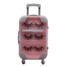 B56 Hitomi Real Mink Fur Clear Eyelash Packaging Box ,Custom Eyelash Box Big Size Empty Plastic Trolley Case Eyelash box