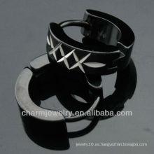 316 L los pendientes del negro del pendiente del acero inoxidable forman la joyería HE-099 de los hombres del aro del pendiente del clip de la manera