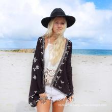 Hot selling beachwear cardigan women cover up black printing chiffon beach towel pareo