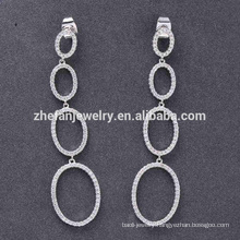 circle water dropping earring brass rhodium plated for christmas gift