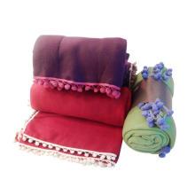 Fringe Pompom Fleece Blanket (SSB0144)