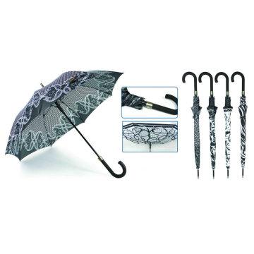 Gerader automatischer Black & White Design Regenschirm (YS-SA23083916R)