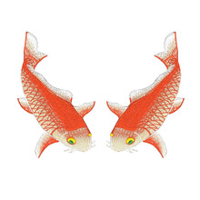 Koi Fish Embroidered Patches Applique for Garment