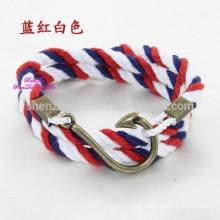 Atacado Moda DIY Pulseira com Gancho Fecho Handmade Rope Bracelet Faça a sua própria jóia de aço inoxidável Bracelets