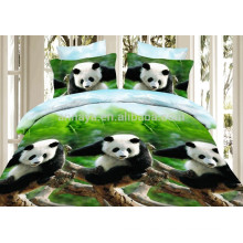 3D Panda Design Microfiber Duvet Cover Set and Bed Sheet Baby Bedding Set